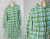 40% OFF 1960's Mod Cotton Fit and Flare Mini Vintage Plaid Dress Sz XS/S Green + Turquoise Dress