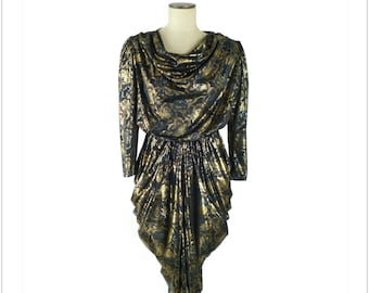 Gold Lame Rose Print Disco Dress Vintage 1980s Size Small / Medium