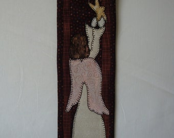 Angel wall hanging, Christmas decor, applique wall hanging, star and angel wall hanging, holiday wall decor, wall art, fabric wall hanging