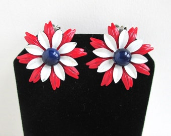 Vintage Enameled Metal Flower Earrings - Red White & Blue