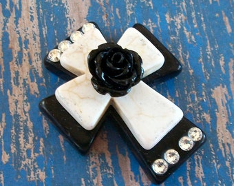 Large Stacked Black Stone Cross with Cream Colored Stone Cross, Acrylic Flower and Bling