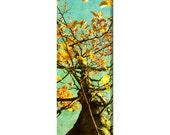 Autumn Tree Canvas - Large Canvas - Modern Canvas - Nature Canvas - Wall Art - Fall Tree Art - Orange Yellow - Aqua Blue - 20 x 60 Canvas