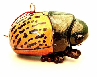 Striped Jewel Scarab Beetle Christmas Ornament
