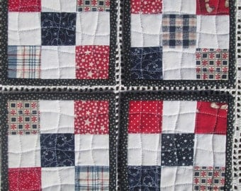 Quilted Patriotic Fabric Coasters - Set of 4