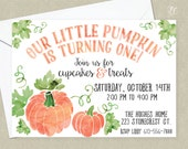 Pumpkin First Birthday Party Invitation - First Birthday Invitation - Pumpkin Baby Announcement - Our Little Pumpkin is One