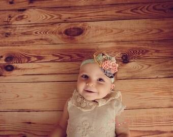 lace baby girl headband, peach and aqua headband, aqua headband, peach headband, peach and cream headband, shabby chic headband, photo prop