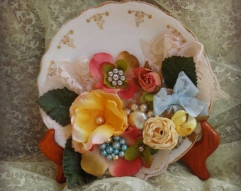 Antique Shabby China Plate Embellished Flowers Jewelry Lace Cottage Decor Pearls Ribbons Romantic