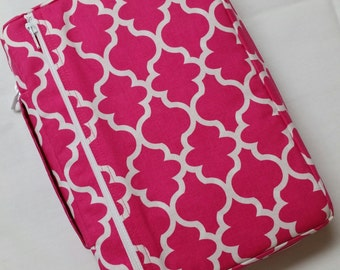 Bible Cover Hot Pink and White