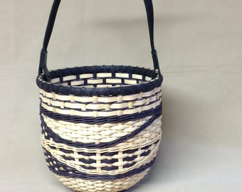 Beautiful Hand Woven Basket, Round Wood Base and Top Opening, Black and Natural