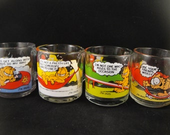 Garfield Glass Cups from McDonalds Set of Four
