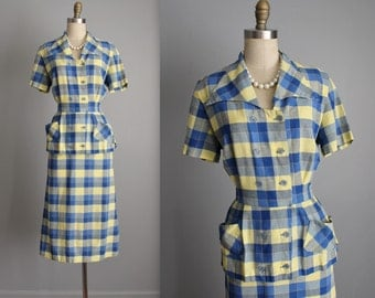 50's Shirtwaist Dress // Vintage 1950's Blue Yellow Plaid Cotton Fitted Casual Shirtwaist Day Dress L