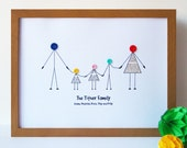 A3 Personalised Family Print - Personalized - Birthday Gift for Her - Birthday Gift for Him - Christmas Gift - New Baby - New Home