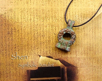 Shen Symbol Amulet - Ancient Egyptian Symbol for Infinity and Eternity - Handcrafted Pendant with Bronze Pigment Patina Finish