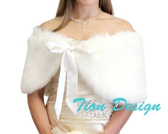 Bridal Faux Fur Shawl For Brides Ivory, bridal wraps and shawls, bridal stole, faux fur wrap, faux fur stole, faux fur shrug, fur cape