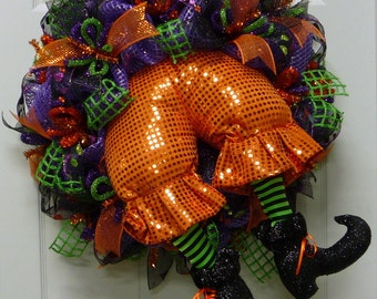 Halloween Wreath W/ Witches Butt Legs, Halloween Decorations