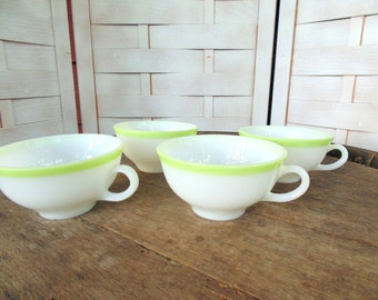 1950s PYREX. Mid Century Kitchen. 1950s Coffee Cups. Milk Glass Cup. Green Band. lot of 4. vintage TeaCups. Milk Glass Cups. gift idea