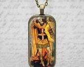 Religious St. Michael Archangel Slaying Serpent Satan Glass Tile Pendant  Christian Necklace