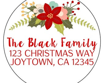 christmas address labels, floral wreath holiday stickers, personalized christmas floral stickers, christmas flower address labels