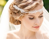 boho bridal headpiece, bohemian bridal hair accessories, rhinestone headband, beaded flower headband, spring wedding hairpiece