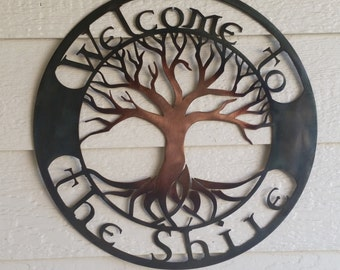 Welcome to the Shire custom Tree of Life Recycled Colored Copper Mixed Patina metal art 18 inch