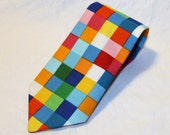 Rainbow Squares youth necktie - photo prop, wedding, ring bearer, accessory