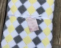 White,gray and yellow checkered baby blanket or lap throw, entrelac crochet blanket, Tunisian crochet blanket