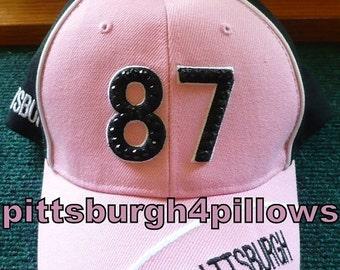 Save 10% Ladies - Pittsburgh - #87 - Pink,Black & White Rhinestones Baseball Caps - Adjustable