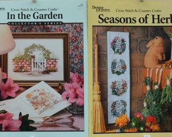 In the Garden #19 + Seasons of Herbs # 76  – Better Homes – Cross Stitch & Country Crafts – Set of 2 Cross Stitch Charts