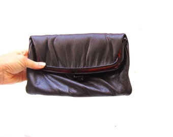 1950s 1960s Brown Leather Clutch, Faux Tortoiseshell Leather Handbag, Brown Leather Foldover Clutch