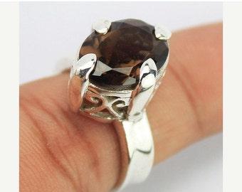 VALENTINE SALE 55% Smoky Quartz Sterling Silver Ring 1614RG