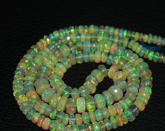 VALENTINE SALE 55% Welo Ethiopian Opal Faceted Rondelle Beads Strand, 20 inches, 3-7mm, 65.5ct, SKU/1039