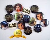 Star Wars Wedding, Star Wars Magnets, Star Wars Pins, Star Wars Flat Backs, Star Wars Party Favors, Star Wars Badges 12 ct. Set A