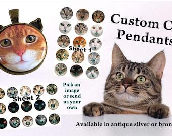 Custom Cat Pendant, Cat Ear Pendant, Cat Face Pendant, Cat Necklace, Cat Jewelry, Cat Face Jewelry, Cat Rescue, Bronze Cat Jewelry