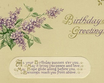 Embossed Vintage Birthday Postcard John Winsch – Bouquet of Lilacs and Birthday Greetings 1914