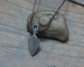 Small Arrowhead Necklace, a hand forged Viking arrowhead made into a pendant