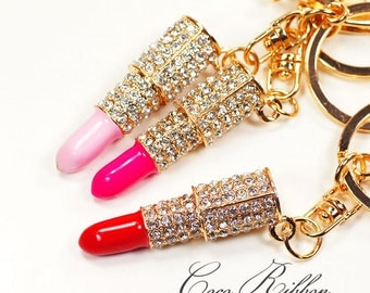 Gold Rhinestone Lipstick Alloy Keychain Key Ring Key Chain - Pink / Hot Pink / Red H14