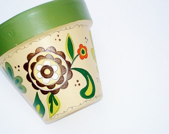 "Hand Painted Pot ""BountifulHarvest"" 5 Inch Terracotta Flower Pot-Ready to Ship"