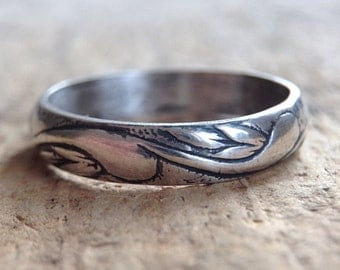 Antique Sterling Silver Flourish Ring, Oxidized Ring, Sterling Silver Ring, Pattern Ring, Bohemian Ring, Bohemian Jewelry