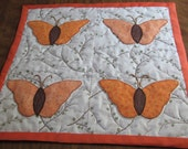 Handmade Quilted Appliquéd Table Topper, Wall Decoration Butterflies Downtown Abbey Lady Mary Fabric