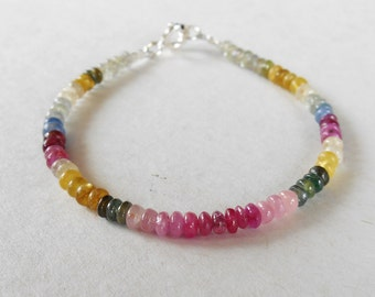 Genuine African multi color Sapphire  bead bracelet 20 CTS with silver 925 clasp /6.25 inch