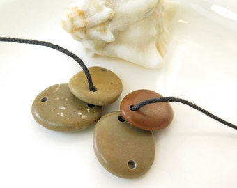 Double Drilled Beach Stone Big Connectors-Jewelry Supplies, Organic Oval Beads Buttons