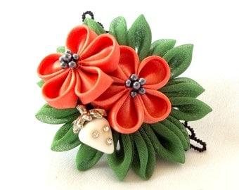 Unique Ring Corsage Wearable Art Tsumami Kanzashi Fabric Flower Statement Jewelry Adjustable