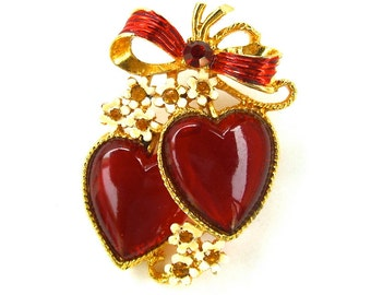Vintage Red Heart Valentines Day Pin Brooch, Love Anniversary, Mid Century, Rhinestone Costume Jewelry