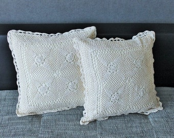 Crochet Pillow covers lace corners 16''x16'', Cushions, Boho style, gift for Mom