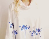 Cream Floral Hand Printed Sweater
