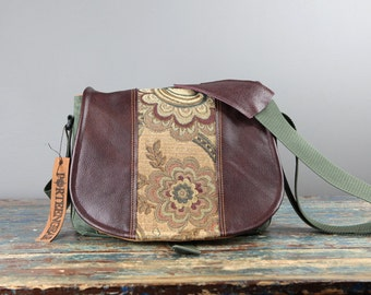 Medium - Leather Camera Bag New Satchel  -  Floral and Wine Leather DSLR - PRE-ORDER