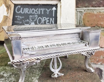 Antique Silver Plated Jewelry Box in The Shape of a Piano