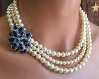 Pearl Necklace Set with Brooch Swarovski Pearls in Cream Ivory Navy Blue Rhinestone 3 multi strands of pearls Mother of the Bride wedding