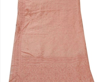 Vintage SILK Shawl/Stole. Regency Style. Peach, Salmon Jacquard Crepe, hand embroidery.