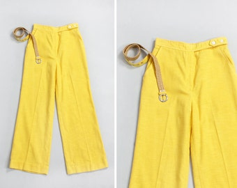 70s Bell Bottoms S • Yellow Pants • Cotton Pants • Summer Pants • Flared Pants • Beach Pants • Linen Pants • High Waisted Pants | P145